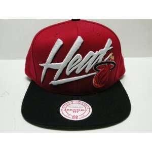 Mitchell and Ness NBA Miami Heat Script Red Black 2 Tone