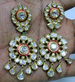 Antique style 20 ct Gold Diamond necklace set kundan meena work