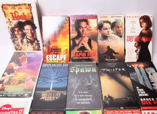 HUGE MIX LOT OF ACTION AND FAMILY VHS MOVIES