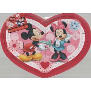 Mickey & Minnie Mouse Heart shaped Wood Puzzle Toys