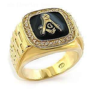 MASONIC MASON GOLD PLATED LINK BAND RING ALL SIZES 8 9 10 11 12 13