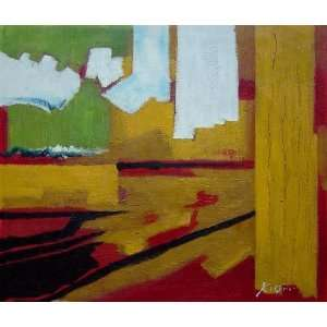 Yellow, Red, Green and White Abstract Oil Painting 20 x 24