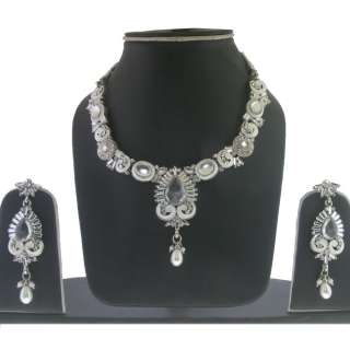 SILVER TONE CZ WHITE ENAMEL 3 PC PEARL BEADS BOLLYWOOD LOOK NECKLACE