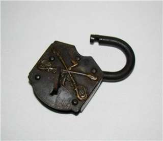 Indian Wars Era Cast Iron & Brass LOCK w KEY 7th Calvary, Company A