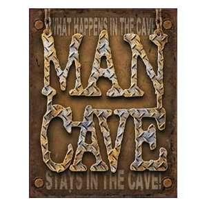 Man Cave Diamond Plate Metal Tin Sign Nostalgic