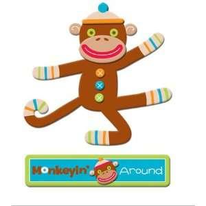 Monkey Business Glitter Layered Chipboard Sticker Arts