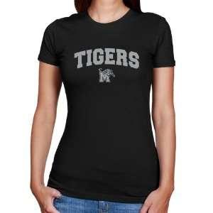 Memphis Tigers Ladies Black Logo Arch Slim Fit T Shirt Sports