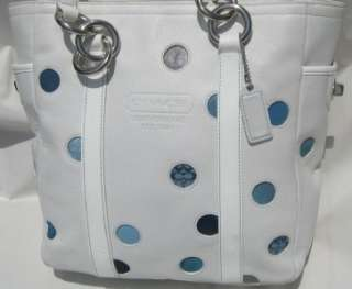 COACH SIGNATURE LEATHER BLUE DOT TOTE HANDBAG F09763*A MUST HAVE