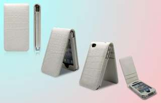 White Croco LEATHER CASE COVER Flip Wallet for IPHONE 4