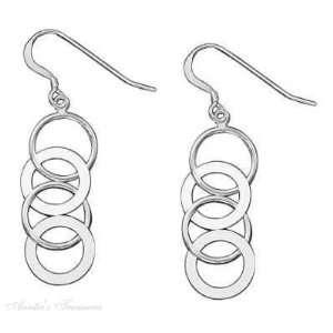 Sterling Silver Interlocked Open Circle Dangle Earrings