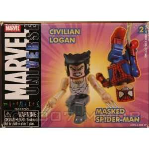 Minimates 2 Pack: Civilian Logan & Masked Spider man: Toys & Games