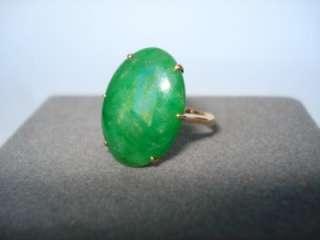Fine Vintage Chinese Jadeite Jade 18k Gold Ring Signed