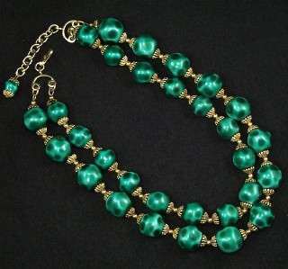 Vintage LUXE Emerald Green 2 Strand Glass Beaded Gold Choker NECKLACE