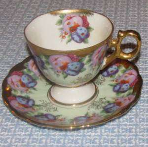 Royal Sealy Japan Handpainted Fruit Cup & Saucer Set Gold Green Pink