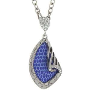 Necklace Vibrant Blue Leather Silver Tone Swarovski Crystals 18 inches