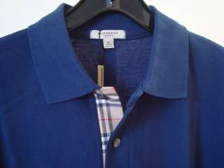 Men Burberry London Classic Fit Polo Shirt Sapphire L NWT