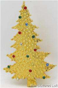 JJ Goldtone with Rhinestones CHRISTMAS TREE Brooch