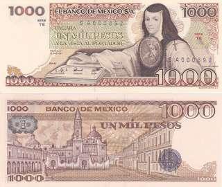 Mexico $ 1,000 Pesos Juana de Asbaje Mar 25, 1982 UNC A000892 Low