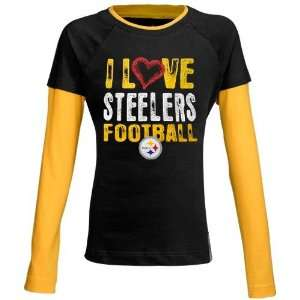 Reebok Pittsburgh Steelers Youth Girls Black Love Double Layer T shirt