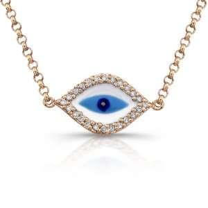 Gold Diamond Enamel Evil Eye Bracelet (1/8cttw, JK, I2 I3) Jewelry