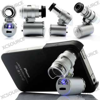 Mini 60X Zoom Microscope Lens and LED Light With Case For Apple iPhone