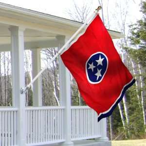 Tennessee 3x5 foot Tornado porch flag kit   white anti furl pole