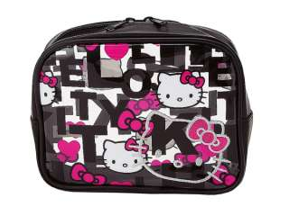 Sanrio   Hello Kitty Black Quilt Medium Clear Vinyl Pouch