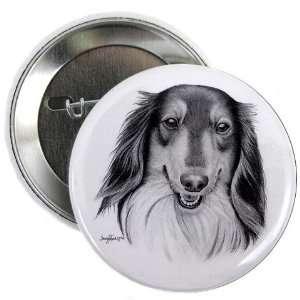 COLLIE Lassie DOG Pencil Sketch Art 2.25 inch Pinback