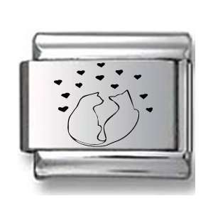 Two Cat Silhouettes with Hearts Laser Italian Charm
