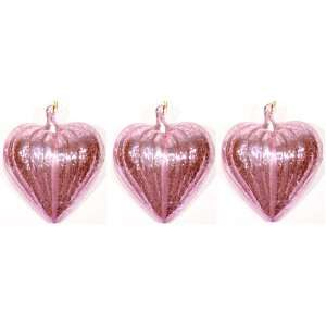 Pink Blown Glass Heart Ornament Valentines Day Gift   Set