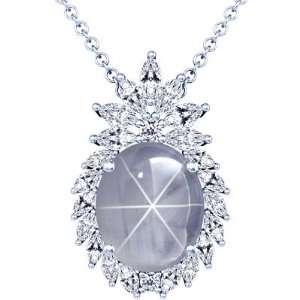 Platinum Oval Cut Blue Sapphire And Marquise Diamond