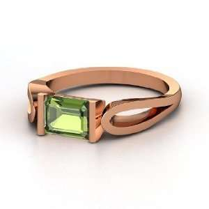Loop de Loop Ring, Emerald Cut Green Tourmaline 14K Rose