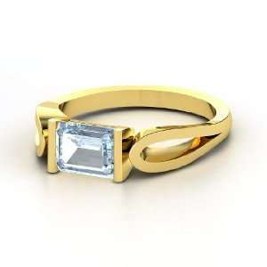Loop de Loop Ring, Emerald Cut Aquamarine 14K Yellow Gold