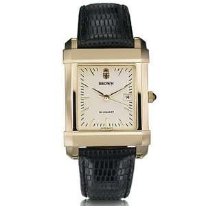 Brown University Mens Swiss Watch   Gold Quad Watch with Leather