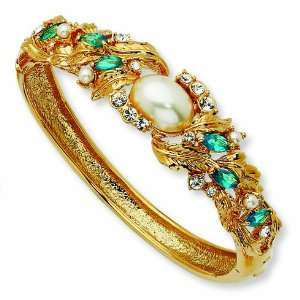 Swarovski Crystal & Simulated Pearl Blue 7in Bangle/Gold Plated Mixed