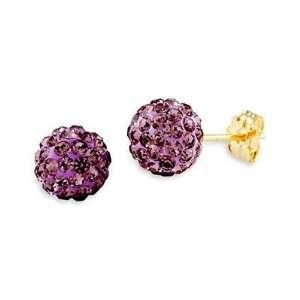 14k Yellow Gold Round Purple CZ Cluster Stud Earrings Jewelry