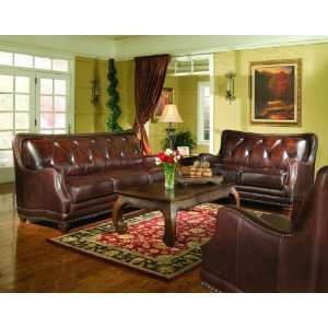 2 PCs Top Grain Genuine Leather Tufted Back Sofa and Love