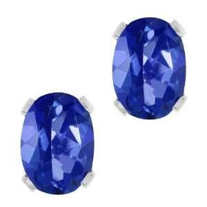 Sapphire Blue Mystic Topaz Silver Plated Brass Stud Earrings Jewelry