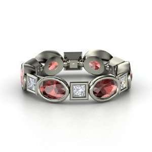 Elliptical Square Band, 14K White Gold Ring with Red Garnet & Diamond