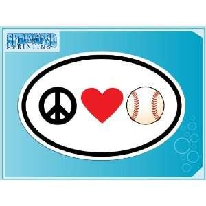 PEACE LOVE BASEBALL euro oval vinyl decal car truck laptop