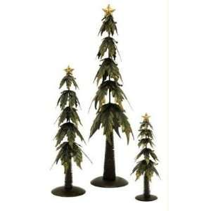 Set of 3 Holly Leaf Christmas Tree Table Top Accents:  Home