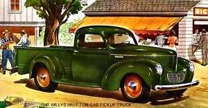 1940 WILLYS ~ HALF TON CAB PICKUP TRUCK (GREEN) MAGNET