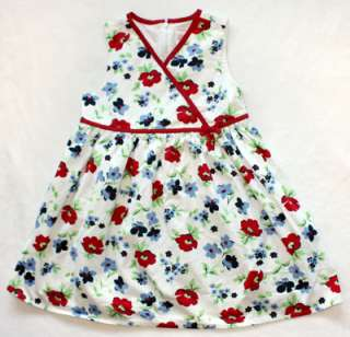 Gymboree Whale Watching Floral Dress size 7   Red White & Blue