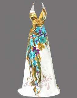 Sexy V Neck Printed Floral Halter Maxi Evening Dress Gown S M L XL 2XL