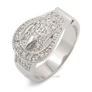 : DESIGNER INSPIRED CZ RINGS   Designer Buckle Pave CZ Ring: Jewelry