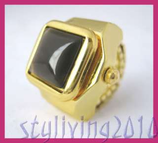 Square Gold Gem Stone Men Lady Finger Ring Quartz Watch
