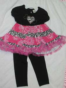 Rare Editions 2 piece Infant/Toddler Zebra print Dress & Legging Set