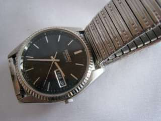 Vintage Mens Seiko Watch Black Dial Day Date Quartz Runs Well New