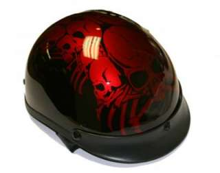 RED BONEYARD HALF SHELL MOTORCYCLE BIKER HELMET DOT APPROVED REMOVABLE