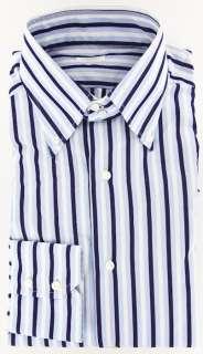 New $375 Barba Napoli Navy Blue Shirt 16/41